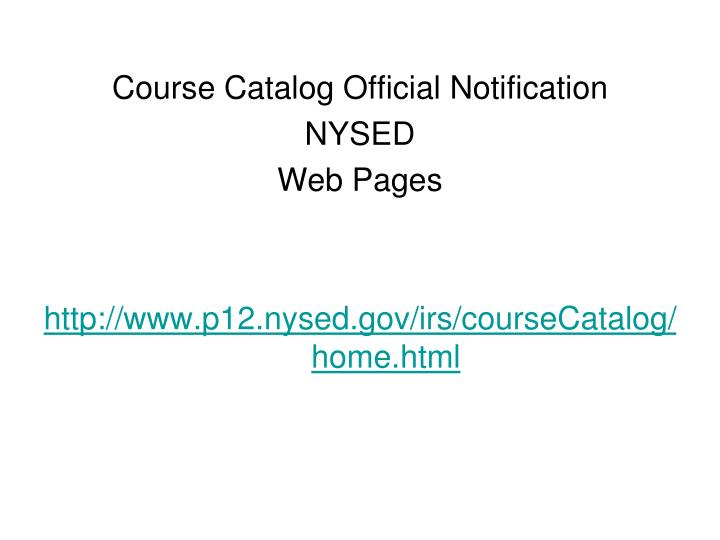 Course Catalog Official Notification