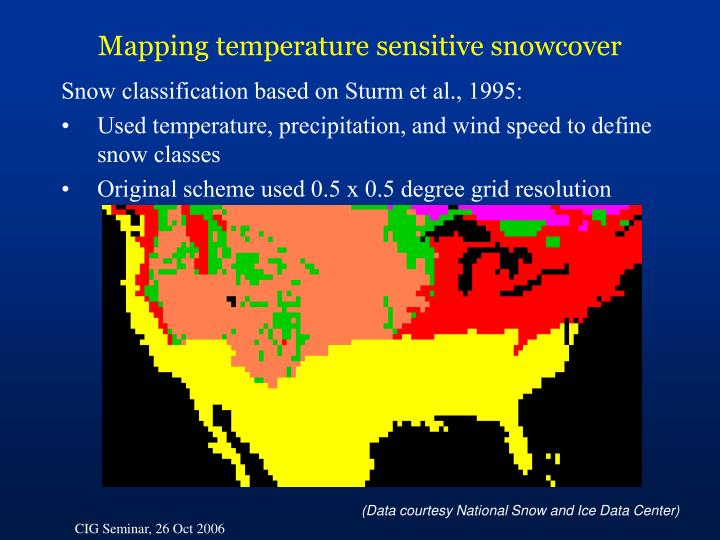 Mapping temperature sensitive snowcover