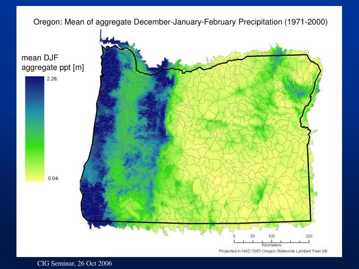 Oregon: Mean of aggregate December-January-February Precipitation (1971-2000)