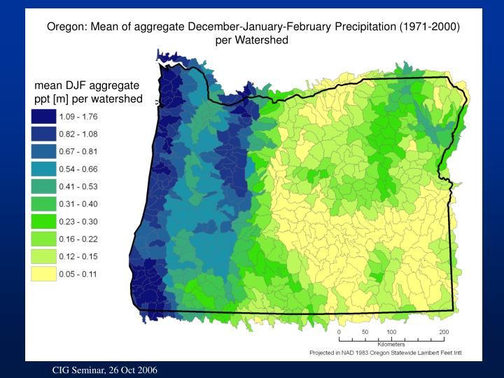 Oregon: Mean of aggregate December-January-February Precipitation (1971-2000) per Watershed
