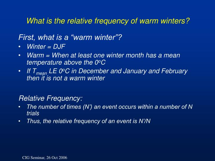 What is the relative frequency of warm winters?