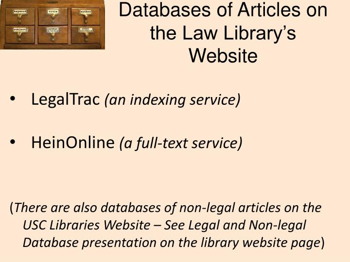 Databases of Articles on the Law Library's Website