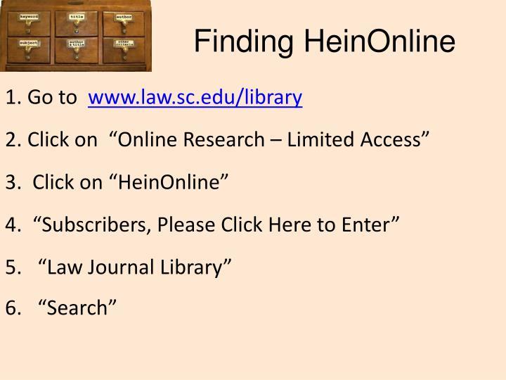 Finding HeinOnline
