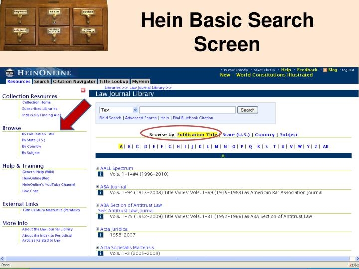 Hein Basic Search Screen