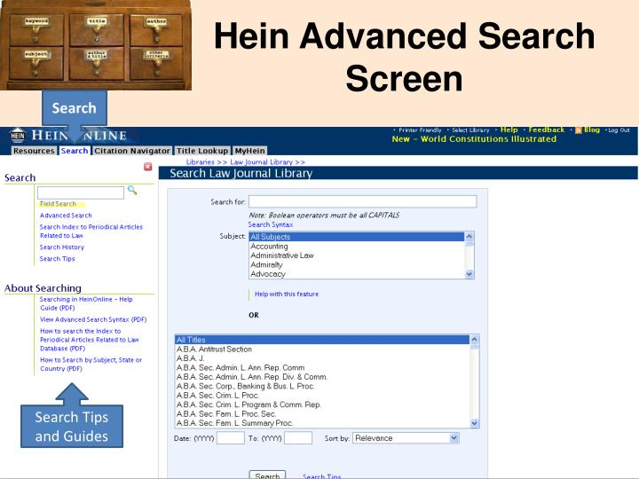 Hein Advanced Search Screen