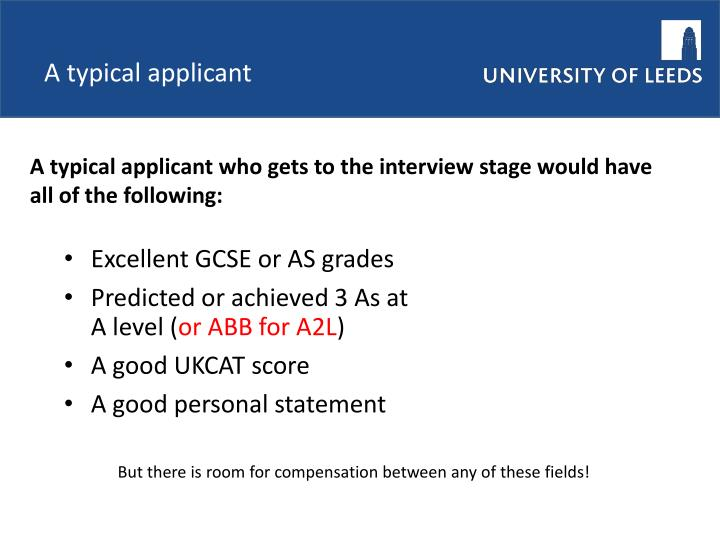 A typical applicant