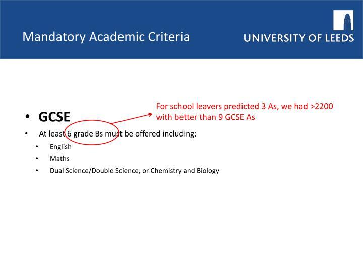 Mandatory Academic Criteria