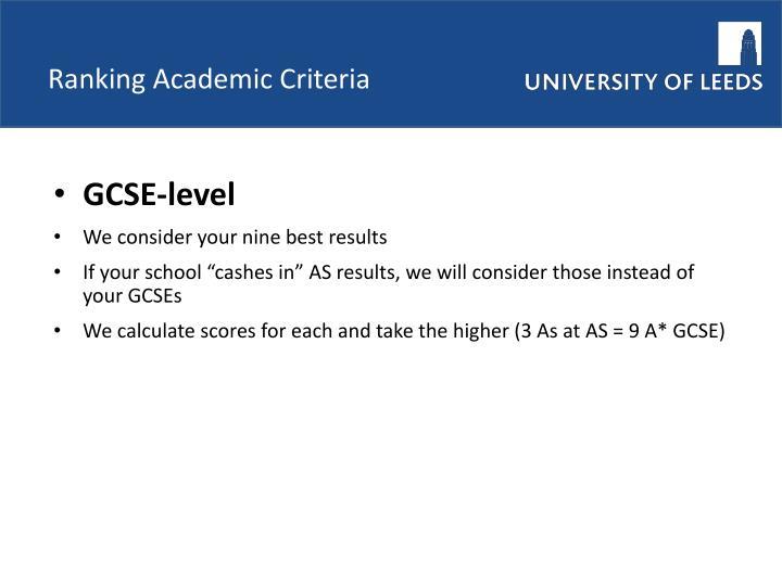 Ranking Academic Criteria