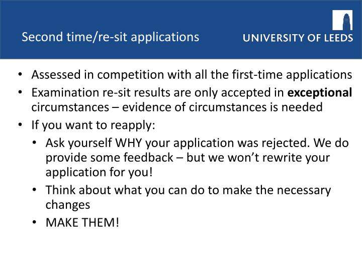 Second time/re-sit applications