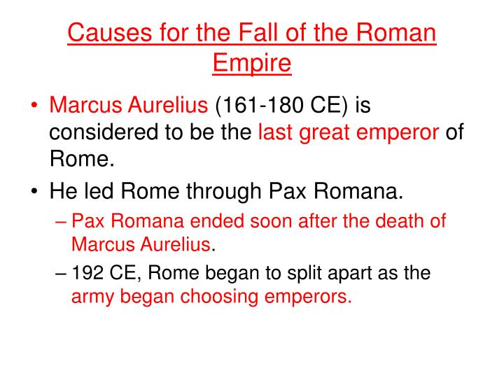 Causes for the Fall of the Roman Empire