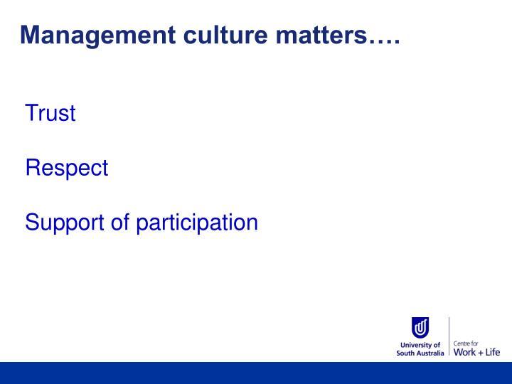 Management culture matters….