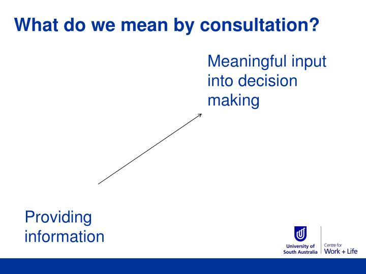 What do we mean by consultation?
