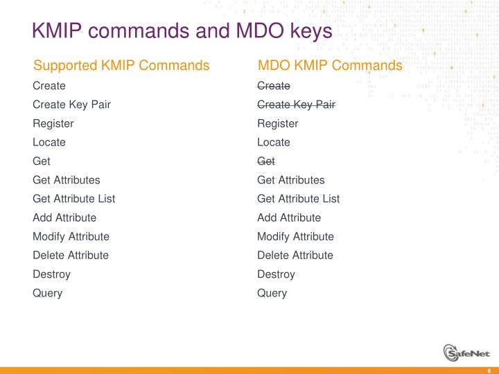 KMIP commands and MDO keys