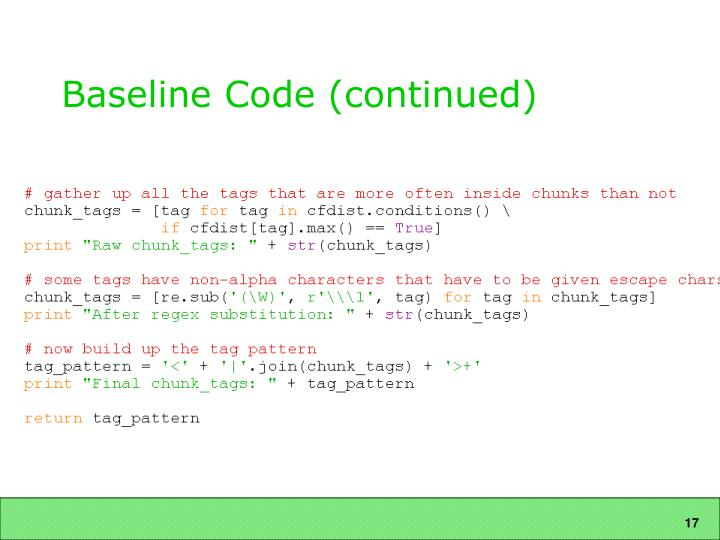 Baseline Code (continued)