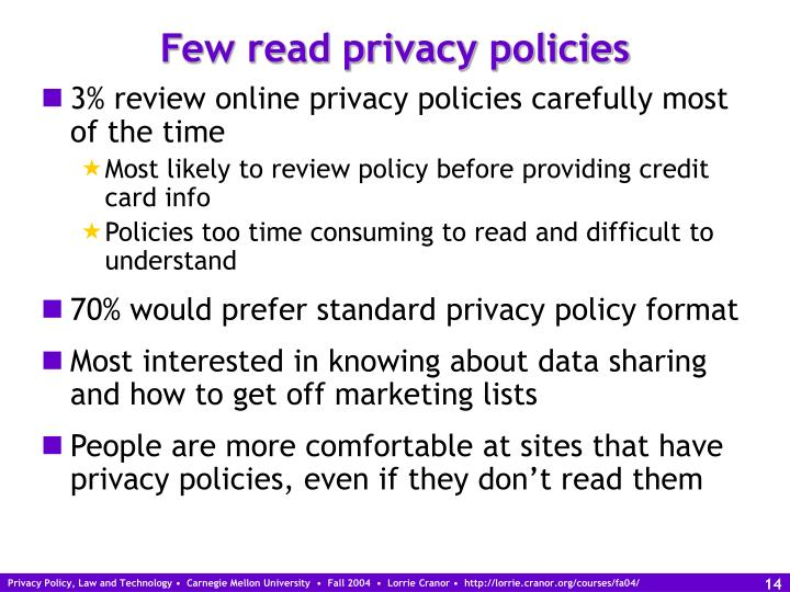 Few read privacy policies