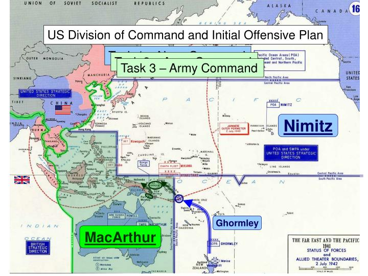 US Division of Command and Initial Offensive Plan