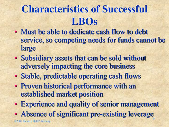 Characteristics of Successful LBOs