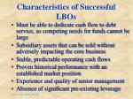 characteristics of successful lbos