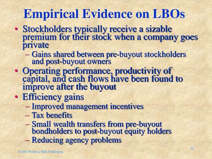Empirical Evidence on LBOs