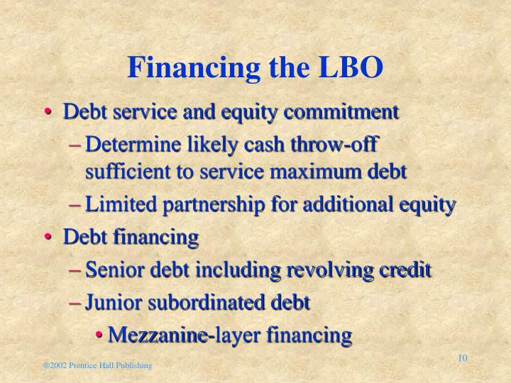 Financing the LBO