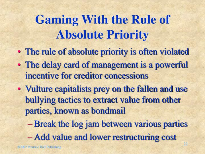 Gaming With the Rule of Absolute Priority