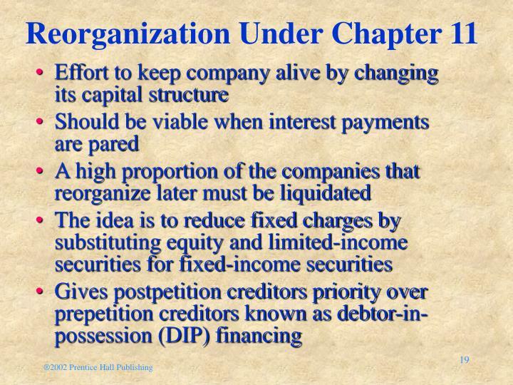 Reorganization Under Chapter 11