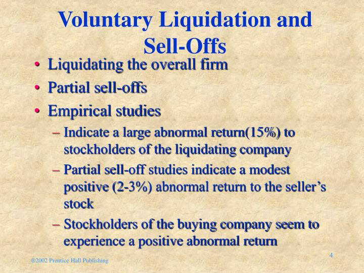 Voluntary Liquidation and Sell-Offs