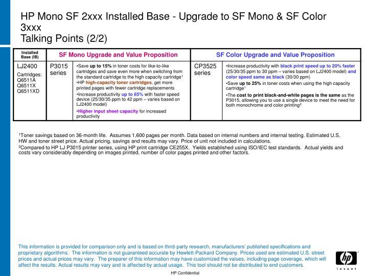 HP Mono SF 2xxx Installed Base - Upgrade to SF Mono & SF Color 3xxx