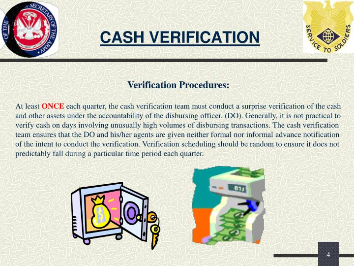 CASH VERIFICATION