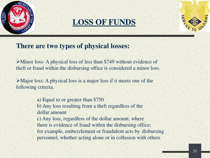 LOSS OF FUNDS