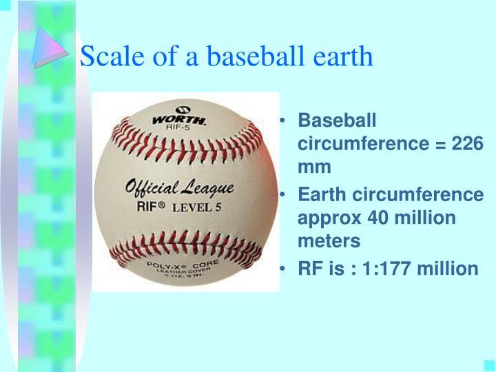 Scale of a baseball earth