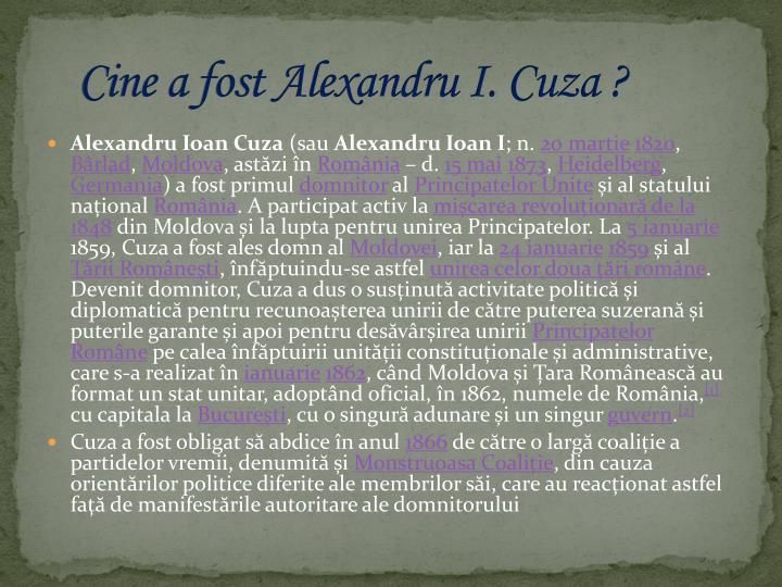Cine a fost Alexandru I. Cuza ?