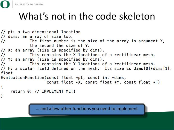 What's not in the code skeleton
