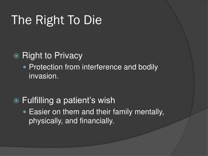 euthanasia the right to die It is moral and ethical to decide take one's own life when the quality of life is no longer attainable what is the right to die, euthanasia and physician assisted suicide.