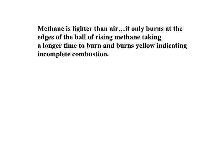 Methane is lighter than air…it only burns at the edges of the ball of rising methane taking