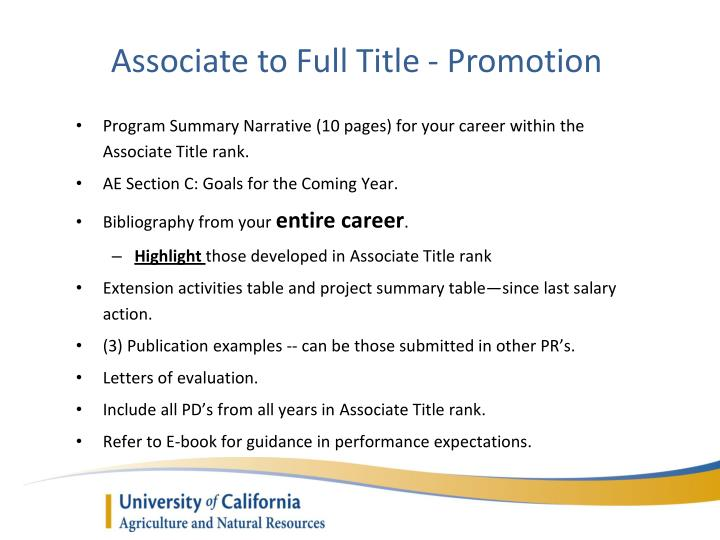 Associate to Full Title - Promotion