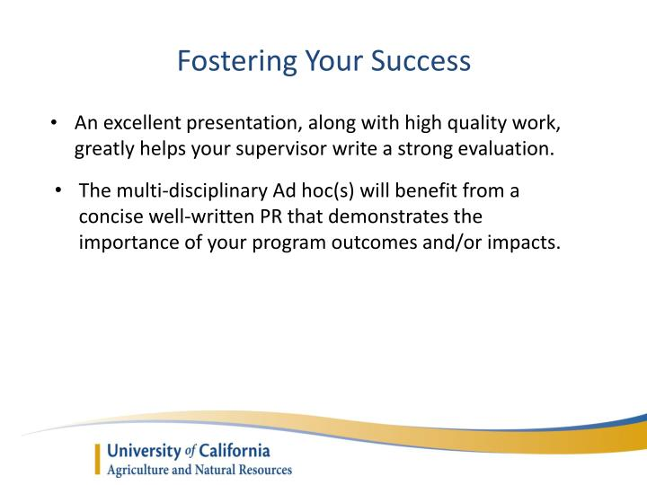 Fostering Your Success