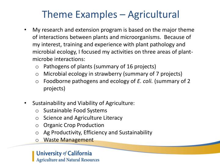 Theme Examples – Agricultural