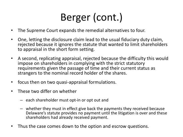 Berger (cont.)