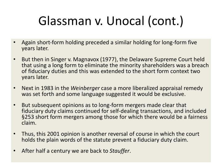 Glassman v. Unocal (cont.)