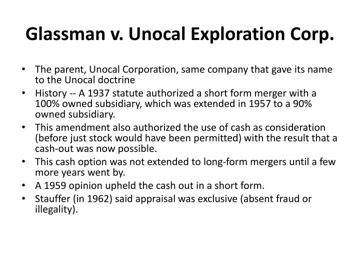 Glassman v. Unocal Exploration Corp.