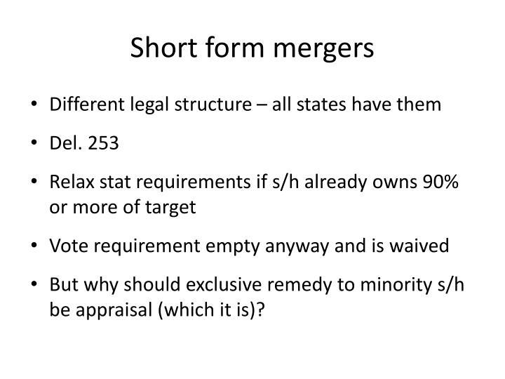 Short form mergers