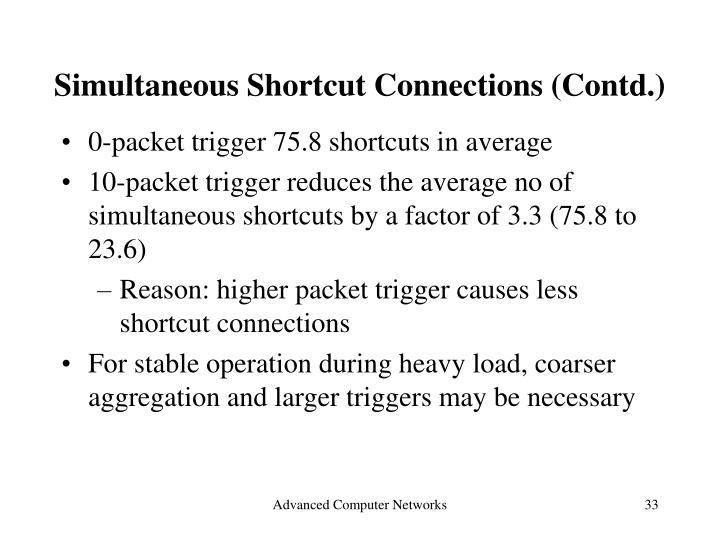 Simultaneous Shortcut Connections (Contd.)