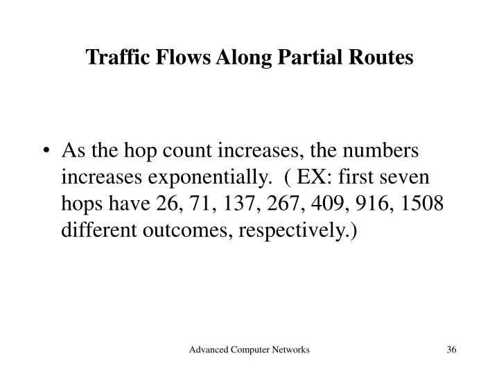 Traffic Flows Along Partial Routes
