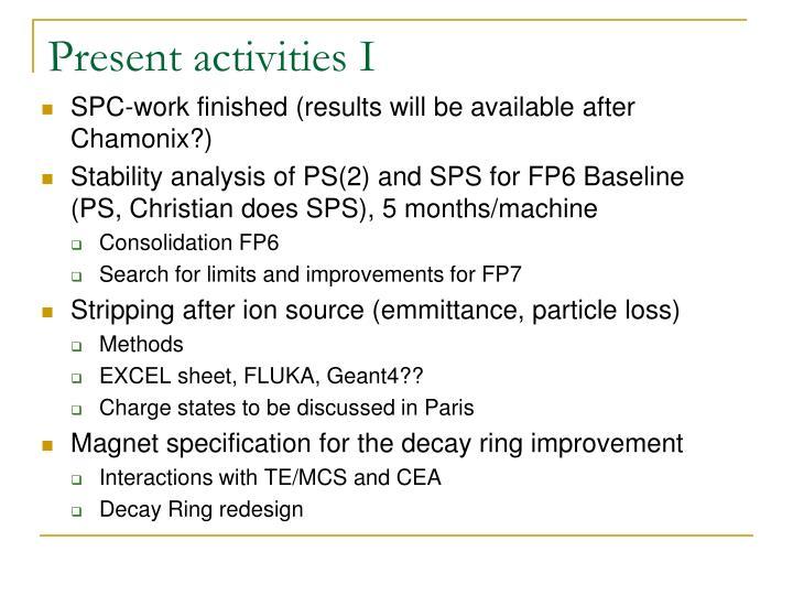 Present activities I