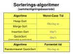 sorterings algoritmer sammenligningsbaserede