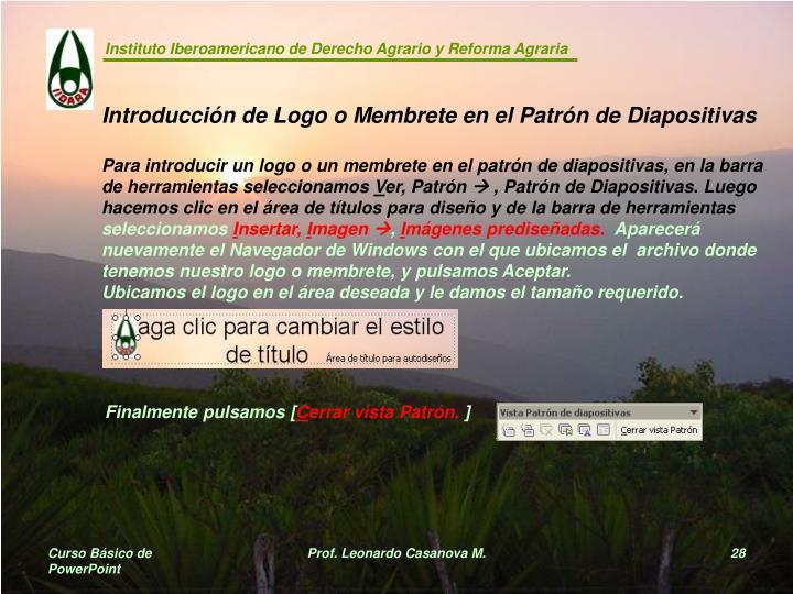 Introducción de Logo o Membrete en el Patrón de Diapositivas