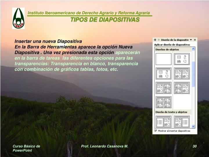 TIPOS DE DIAPOSITIVAS