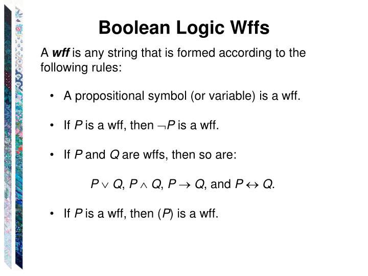 Boolean Logic Wffs