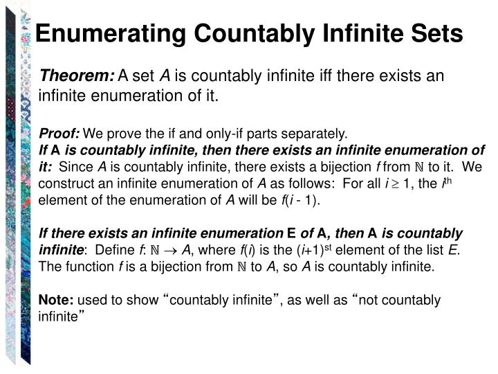 Enumerating Countably Infinite Sets